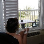 The Wife looking out of the balcony window of our hotel room